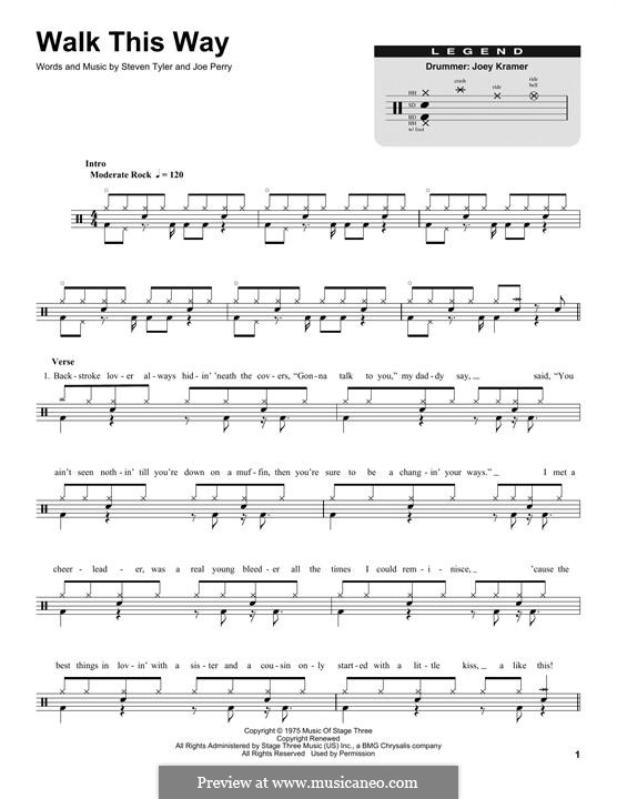 Walk This Way (Aerosmith and Run D.M.C.): Drum set by Joe Perry, Steven Tyler