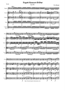 Konzert für Fagott und Orchester in B-Dur, K.191: Version for bassoon and string orchestra - score and parts by Wolfgang Amadeus Mozart