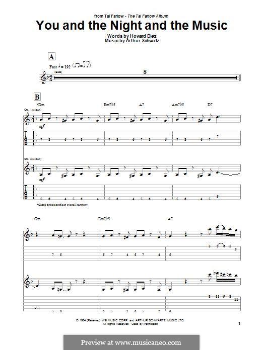 You and the Night and the Music: Für Gitarre mit Tabulatur by Arthur Schwartz