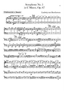 Vollständiger Sinfonie: Cello- und Kontrabassstimme by Ludwig van Beethoven