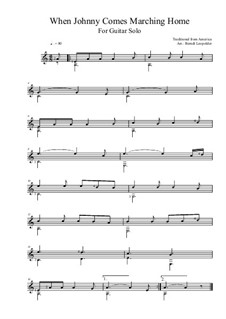 When Johnny Comes Marching Home: For guitar solo (A Major) by folklore