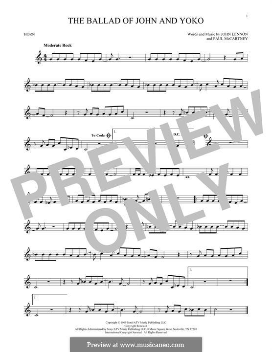 The Ballad of John and Yoko (The Beatles): For horn by John Lennon, Paul McCartney