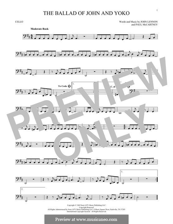 The Ballad of John and Yoko (The Beatles): Für Cello by John Lennon, Paul McCartney