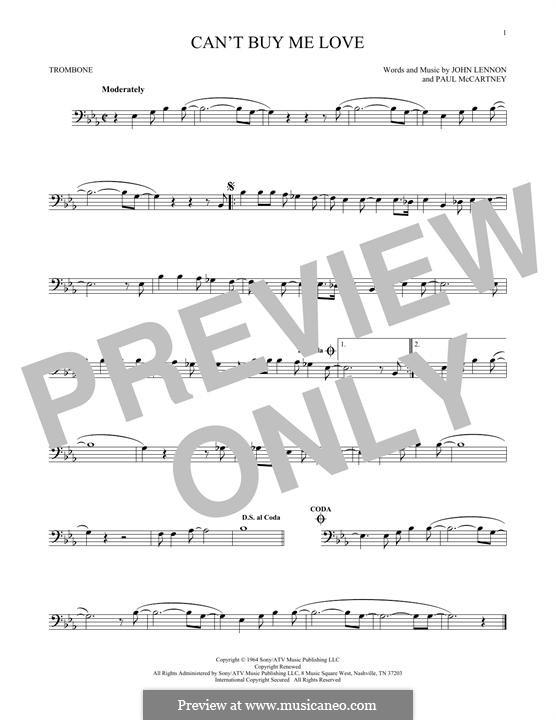 Can't Buy Me Love (The Beatles): For trombone by John Lennon, Paul McCartney