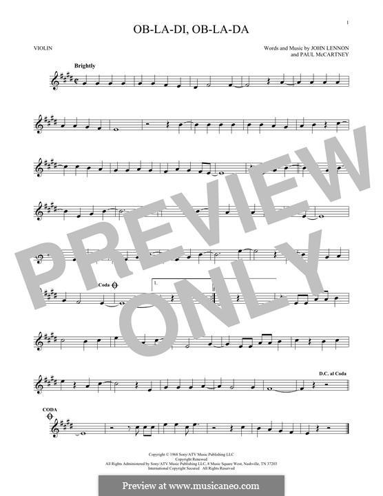Ob-La-Di, Ob-La-Da (The Beatles), for One Instrument: Für Violine by John Lennon, Paul McCartney