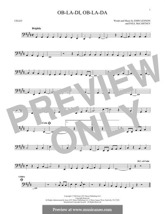 Ob-La-Di, Ob-La-Da (The Beatles), for One Instrument: Für Cello by John Lennon, Paul McCartney