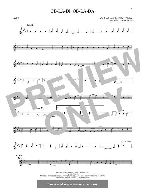 Ob-La-Di, Ob-La-Da (The Beatles), for One Instrument: For horn by John Lennon, Paul McCartney