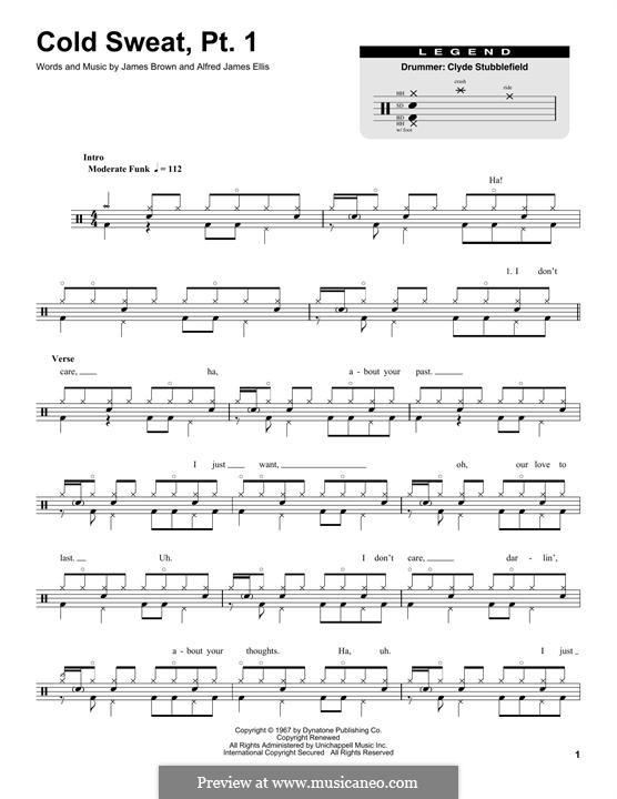 Cold Sweat, Pt.1: Drum set by Alfred Ellis, James Brown