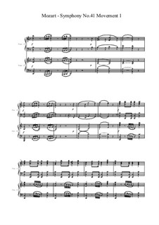 Sinfonie Nr.41 in C-Dur 'Jupiter', K.551: Movement 1, for two pianos four hands by Wolfgang Amadeus Mozart