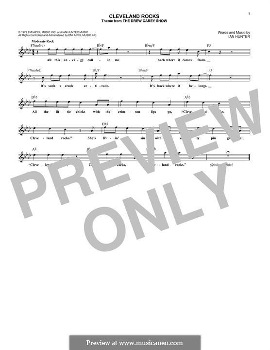 Cleveland Rocks (theme from The Drew Carey Show): Melodische Linie by Ian Hunter