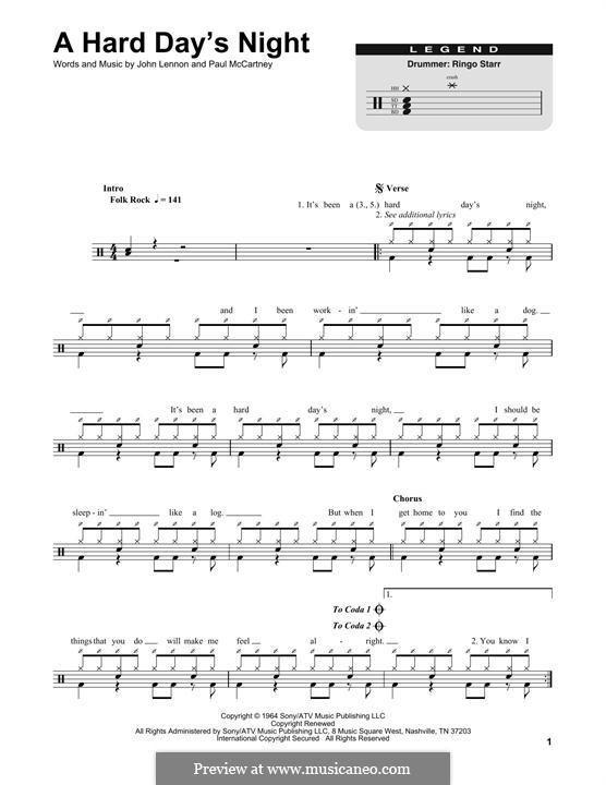A Hard Day's Night (The Beatles): Drum set by John Lennon, Paul McCartney