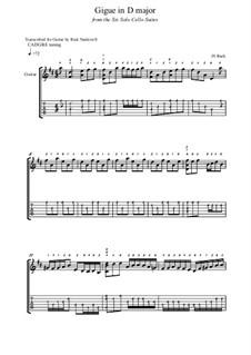 Suite für Cello Nr.6 in D-Dur, BWV 1012: Gigue. Version for guitar by Johann Sebastian Bach
