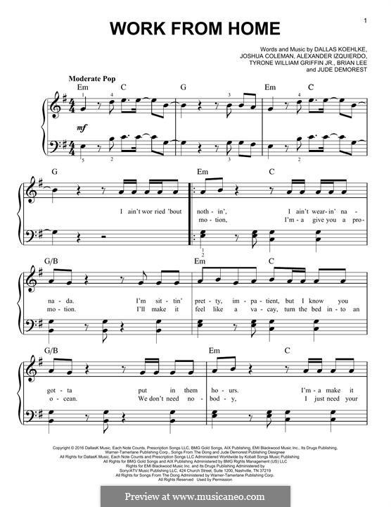 Work from Home (Fifth Harmony feat. Ty Dolla $ign): Für Klavier by Brian Lee, Joshua Coleman, Dallas Koehlke, Claire Demorest, Tyrone Griffin, Alexander Izquierdo