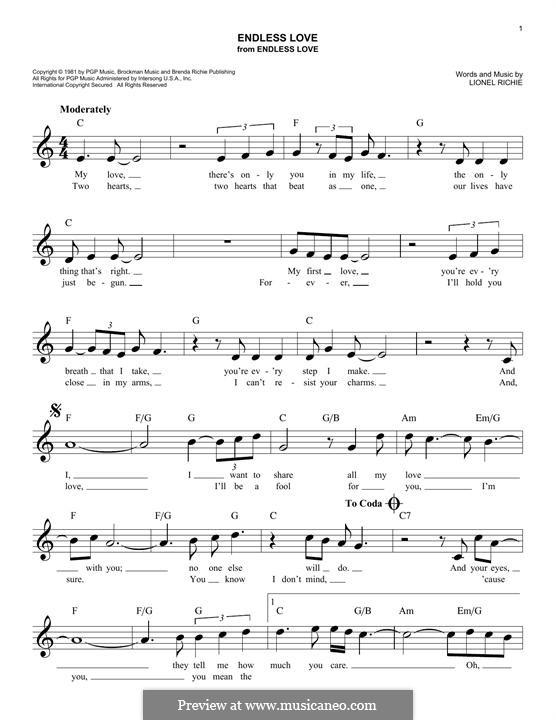 Endless Love: Melodische Linie by Lionel Richie