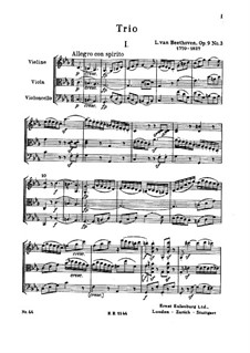 Streichtrio Nr.5 in c-Moll, Op.9 No.3: Vollpartitur by Ludwig van Beethoven