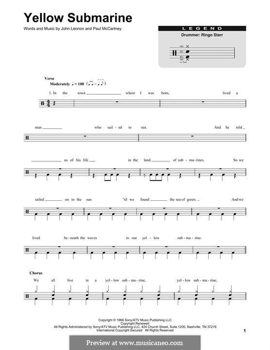 Yellow Submarine (The Beatles): Drum set by John Lennon, Paul McCartney