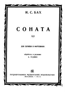Sonate für Violine und Cembalo in g-Moll: Version für Violine und Klavier by Johann Sebastian Bach
