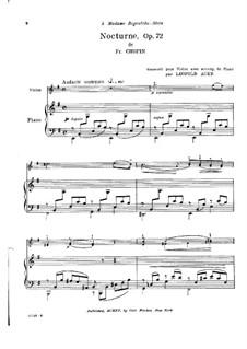 Nocturne in e-Moll, Op. posth.72 No.1: Für Violine und Klavier by Frédéric Chopin