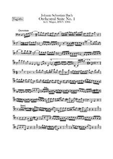 Orchestersuite Nr.1 in C-Dur, BWV 1066: Fagottstimme by Johann Sebastian Bach
