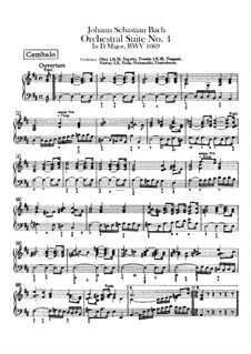 Orchestersuite Nr.4 in D-Dur, BWV 1069: Cembalostimme by Johann Sebastian Bach