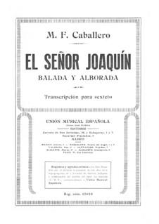 El Señor Joaquín: Klavierstimme by Manuel Fernández Caballero