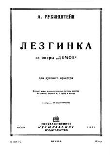 Der Dämon: Lesginka, für Blasorchester by Anton Rubinstein