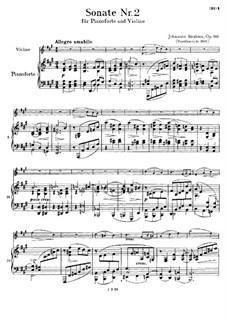 Sonate für Violine und Klavier Nr.2 in A-Dur, Op.100: Partitur by Johannes Brahms