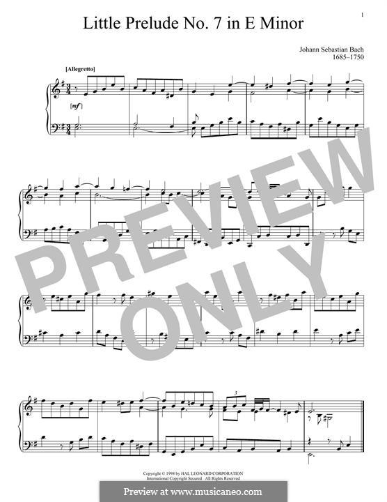 Zwölf kleine Praeludien: Prelude No.7 in E Minor by Johann Sebastian Bach