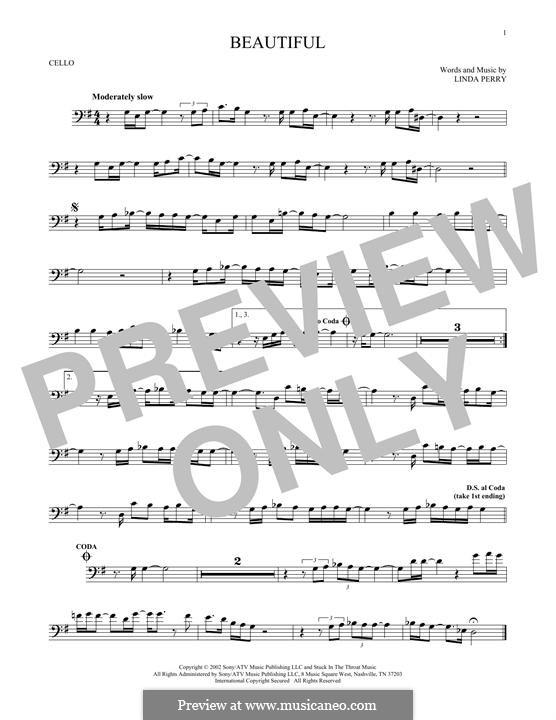 Beautifull (Christina Aguilera & Beverly McClellan): Für Cello by Linda Perry