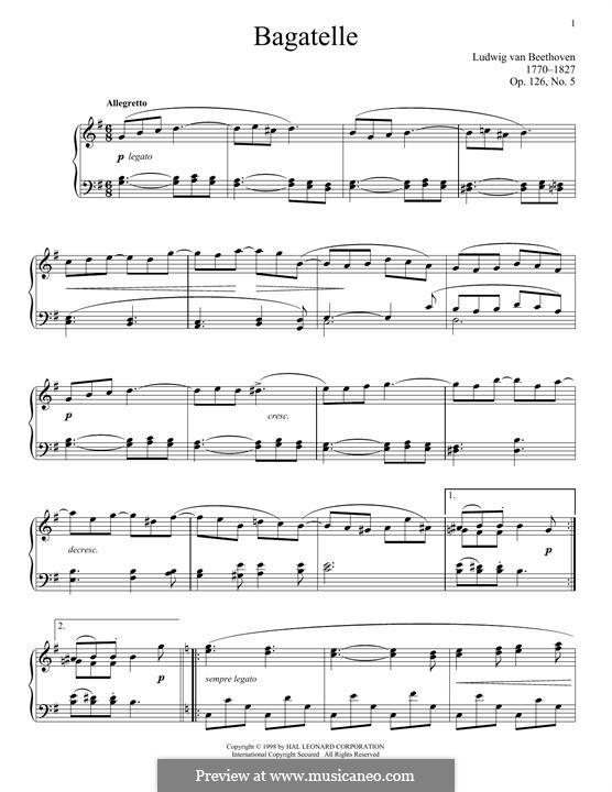 Sechs Bagatellen für Klavier, Op.126: Bagatelle No.5 by Ludwig van Beethoven
