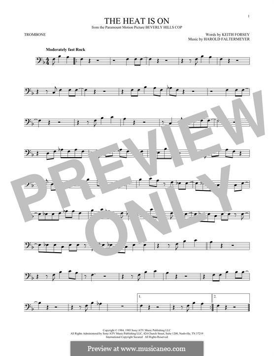 The Heat Is on (Glenn Frey): For trombone by Harold Faltermeyer, Keith Forsey