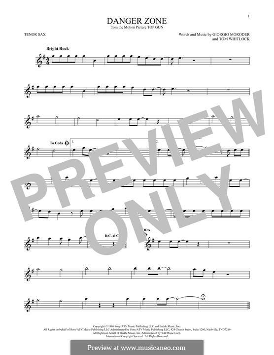 Danger Zone (from Top Gun): Für Tenorsaxophon by Giorgio Moroder, Tom Whitlock