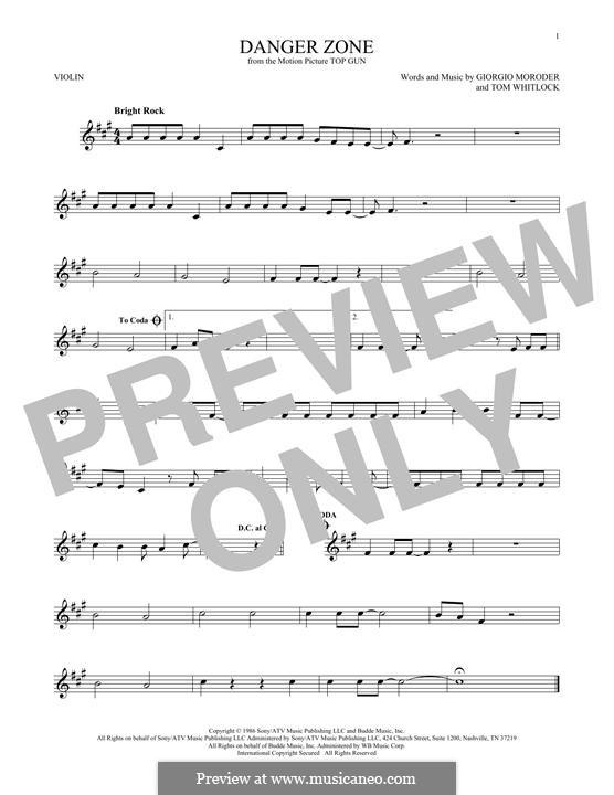 Danger Zone (from Top Gun): Für Violine by Giorgio Moroder, Tom Whitlock