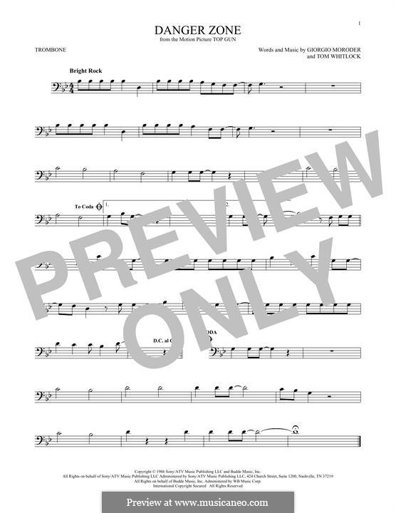 Danger Zone (from Top Gun): For trombone by Giorgio Moroder, Tom Whitlock