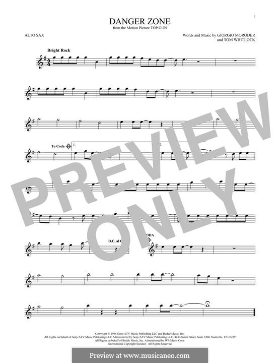 Danger Zone (from Top Gun): Für Altsaxophon by Giorgio Moroder, Tom Whitlock