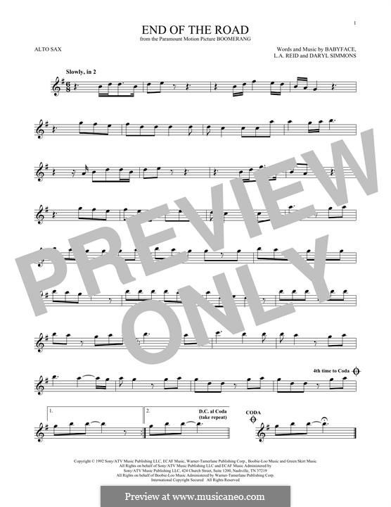 End of the Roads (Boyz II Men): Für Altsaxophon by L.A. Reid, Daryl Simmons, Kenneth 'Babyface' Edmonds