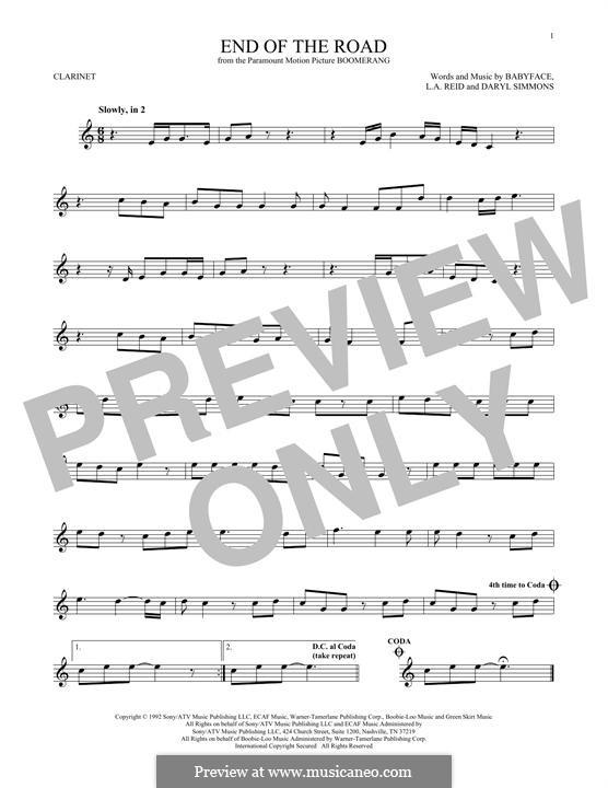 End of the Roads (Boyz II Men): Für Klarinette by L.A. Reid, Daryl Simmons, Kenneth 'Babyface' Edmonds