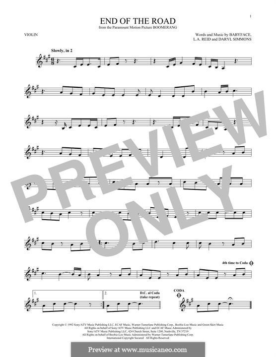 End of the Roads (Boyz II Men): Für Violine by L.A. Reid, Daryl Simmons, Kenneth 'Babyface' Edmonds