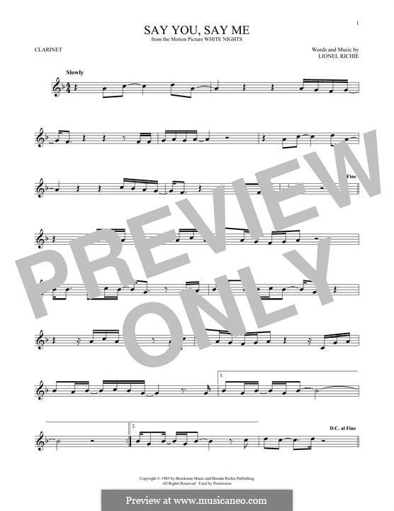 Say You, Say Me: Für Klarinette by Lionel Richie