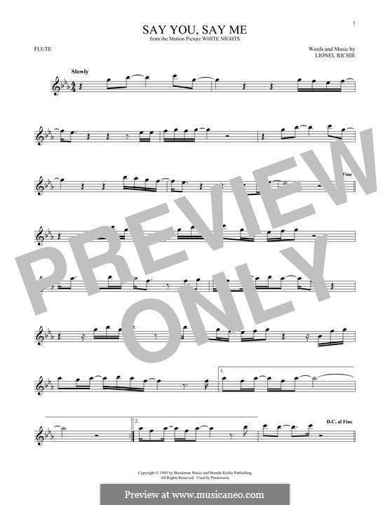 Say You, Say Me: Für Flöte by Lionel Richie