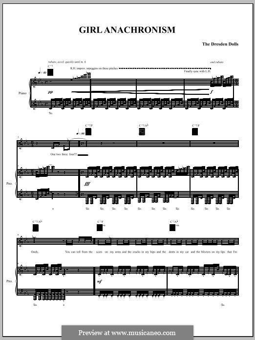Girl Anachronism (The Dresden Dolls): Für Stimme und Klavier (oder Gitarre) by Amanda Palmer