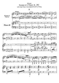 Sonate für Klavier Nr.5 in G-Dur, K.283: Bearbeitung für zwei Klaviere, vierhändig by Wolfgang Amadeus Mozart