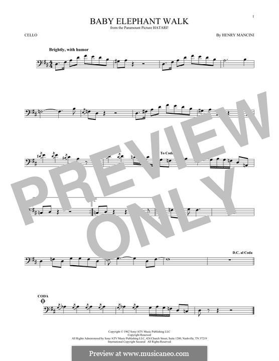 Baby Elephant Walk: Für Cello by Henry Mancini