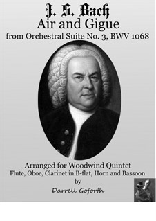Aria and Gigue: For woodwind quintet by Johann Sebastian Bach