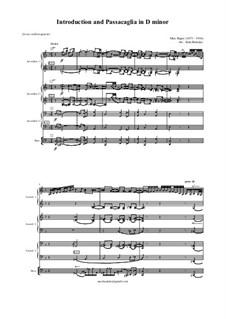 Introduktion und Passacaglia: For accordion quartet by Max Reger
