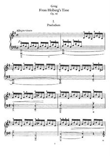 Aus Holbergs Zeit, Op.40: Für Klavier by Edvard Grieg