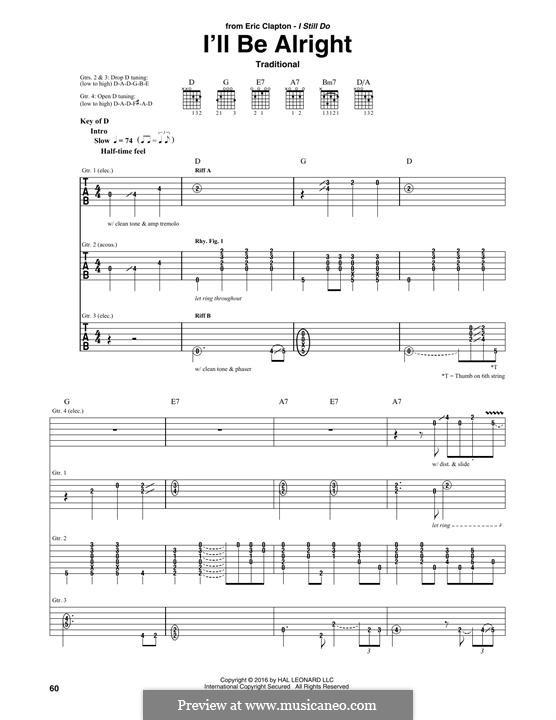 I'll Be Alright: Für Gitarre mit Tabulatur by folklore