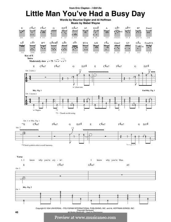 Little Man You've Had a Busy Day (Paul Robeson): Für Gitarre mit Tabulatur by Al Hoffman, Mabel Wayne, Maurice Sigler
