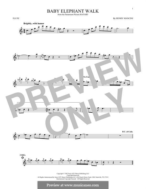 Baby Elephant Walk: Für Flöte by Henry Mancini