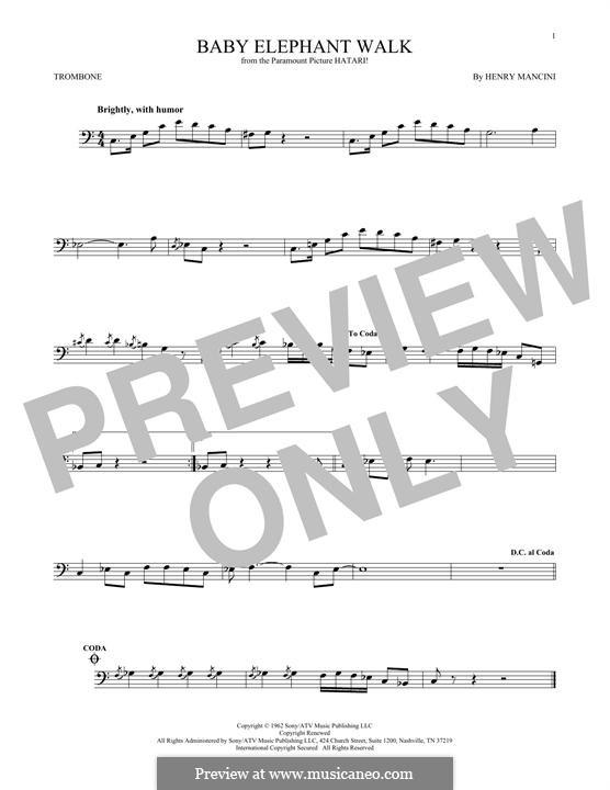 Baby Elephant Walk: For trombone by Henry Mancini